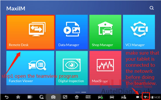 How to do the teamview for the tablet