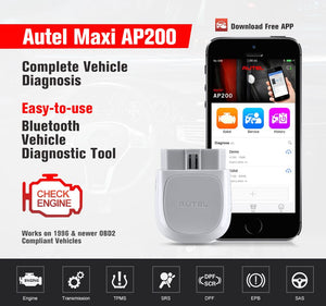 Autel MaxiAP AP200 Bluetooth OBD2 Code Reader with Full Systems Diagnoses, Simplified Edition of MK808/MX808, Ship from UK - Autel Authorized Dealer-Auto intelligence Tools