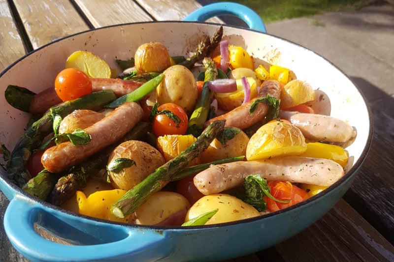 SUMMER VEGETABLE AND SAUSAGE TRAYBAKE