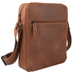 "Shoulder bag ""Daybag 11"", tablet compartment up to 11 inches, leather brown vintage"