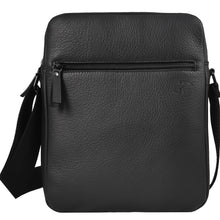 "Load image into Gallery viewer, ""Daybag 11"" shoulder bag, tablet compartment up to 11 inches, black leather"
