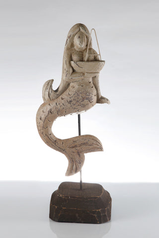 Wooden Mermaid on Stand