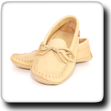 Double Leather Moccasins - Natural 105M