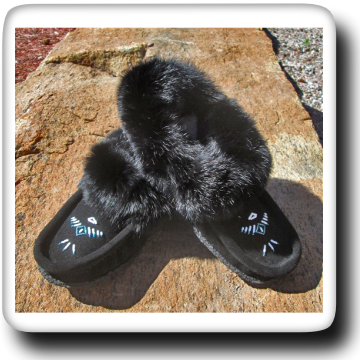 Fur Trimmed Moccasin - 12653L