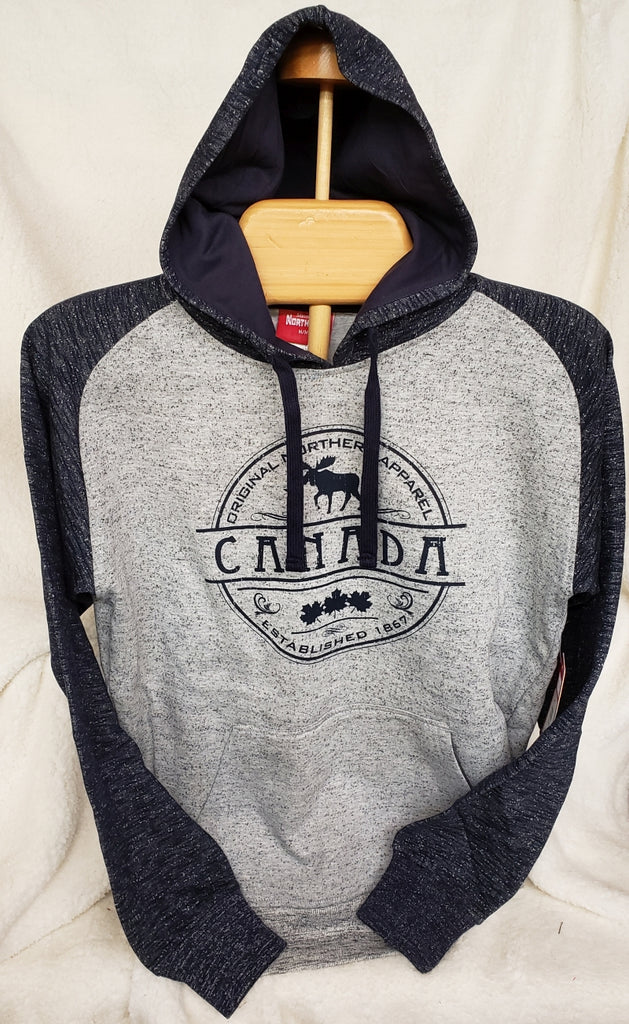 Men's Hooded 2-tone Raglan w/Moose #4025 Navy Heather/Grey