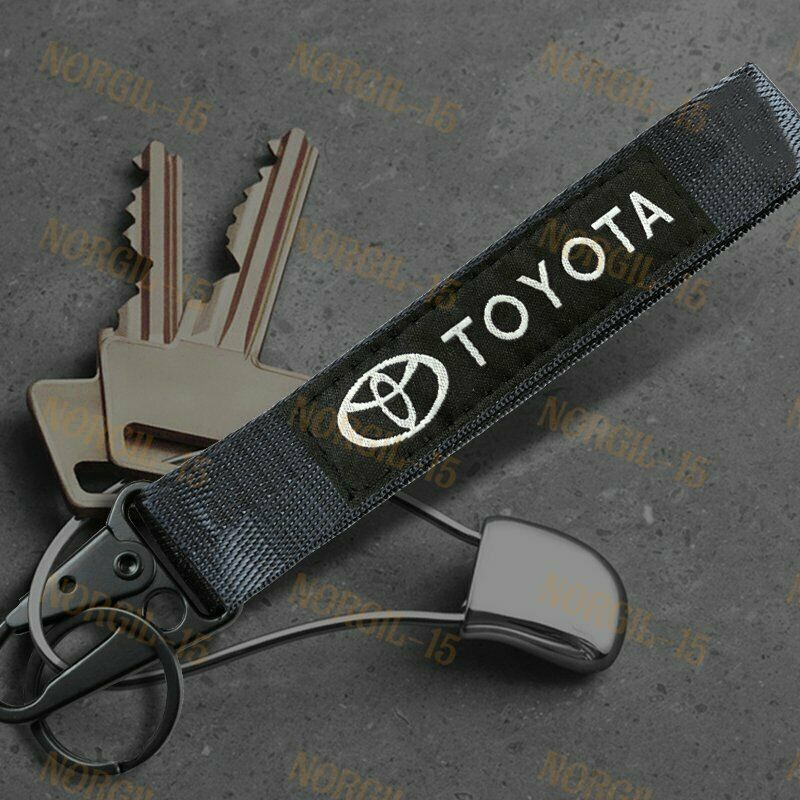 For TOYOTA Racing Keychain Metal Backpack key Ring Hook Strap Lanyard Nylon BK