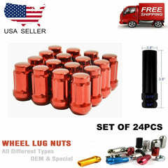 20PC RED 6SPLINE TUNER LUG NUTS 12X1.5 +ANTITHEFT KEY [FITS:HONDA]