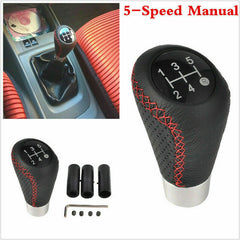 5 Speed Black&Red Leather Aluminum Manual Car Gear Shift Knob Shifter Lever US