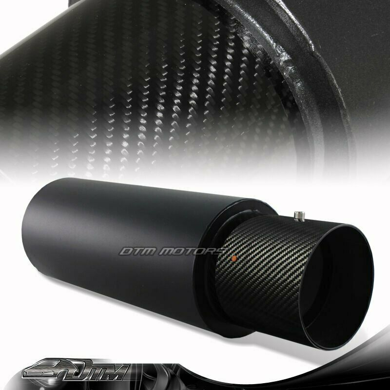 "N1 4"" Carbon Fiber Tip Black Stainless Steel Body Exhaust Muffler with 3"" Inlet"