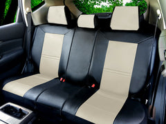 PU Leather 5 Car Seat Cushion Covers Front & Rear for Sedan SUV Van 2088 Bk/Tan