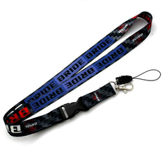 JDM Bride Black Racing NYLON 2 SIDE Lanyard Neck Strap KeyChain Quick Release
