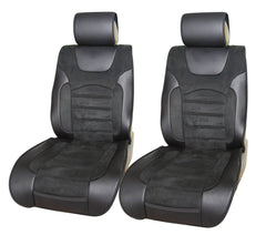 Black PU Leather Suede Full Car Seat Covers Front Rear SUV Van Truck 803551 Bk