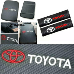TOYOTA Embroidery Logo Carbon Car Center Armrest Cushion Mat Pad Cover Combo