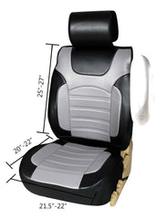 2 Black/Gray PU Leather Front Car Seat Covers Cushion for Saturn #80210