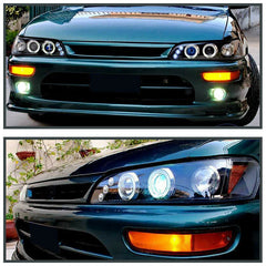 For 1993-1997 Toyota Corolla LED Halo Projector Headlights Black Lamp Left+Right