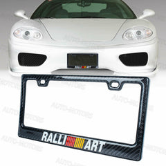 100% Real Carbon Fiber Black Glossy RALLIART License Plate Frame-1PCS