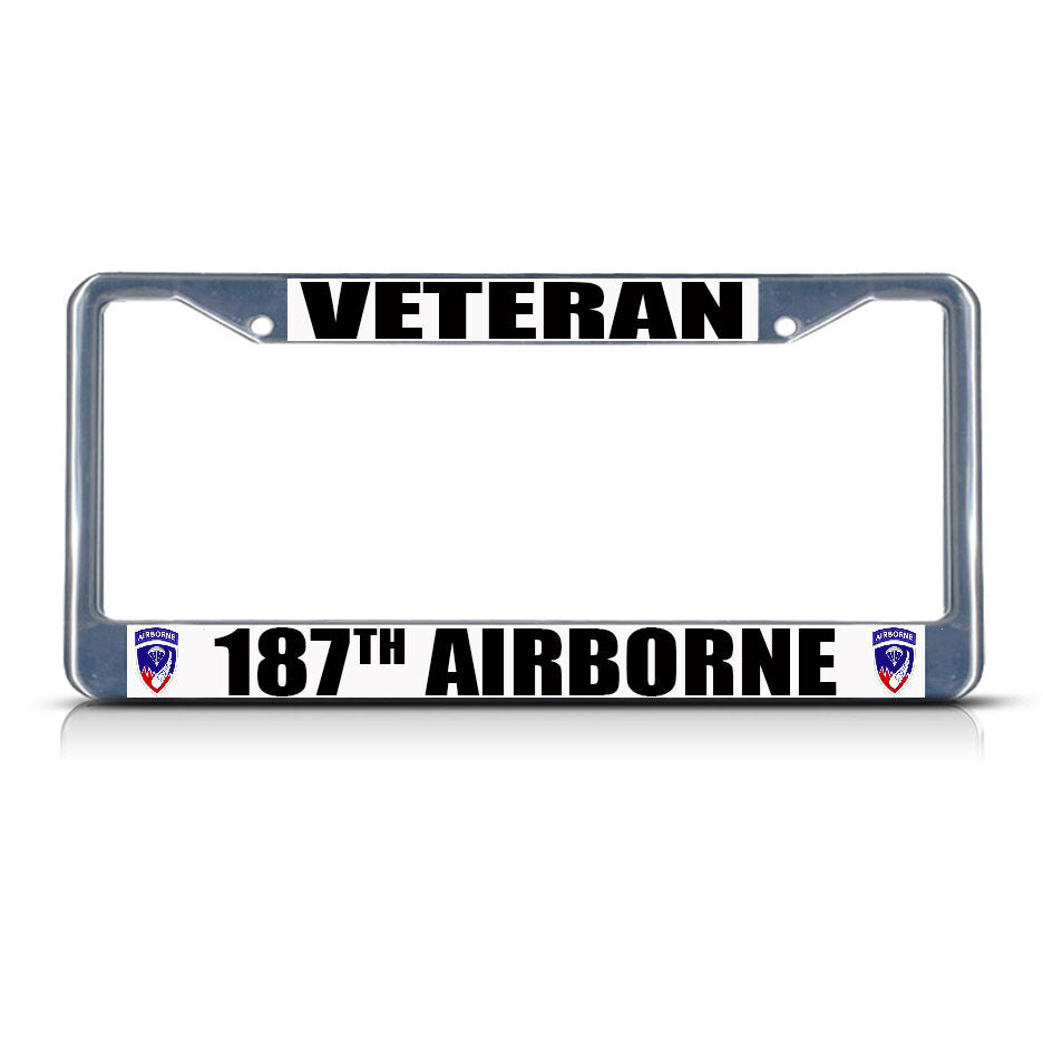 VETERAN 187TH AIRBORNE ARMY Metal License Plate Frame Tag Border Two Holes