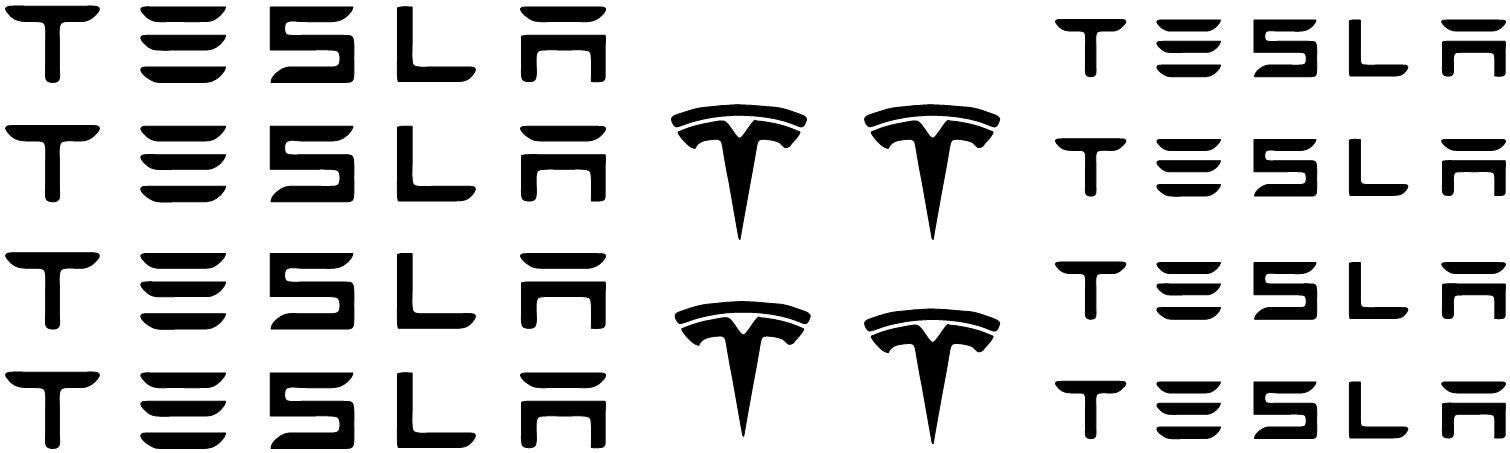 12pc Tesla Brake Hi Temp Caliper Vinyl Decal Sticker (Any Color)