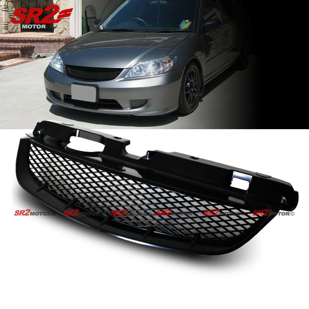 Mesh ABS Black Front Hood Grill Grille fits 2004-2005 Honda Civic Coupe Sedan