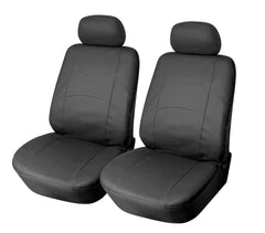 2 Car Seat Covers Vinyl Leather Compatible to Ford F-150 858 Black