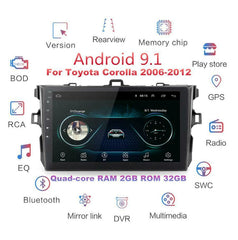 2Din Android 9.1 Car Stereo Radio 9'' HD 2G+32G GPS For Toyota Corolla 2006-2012