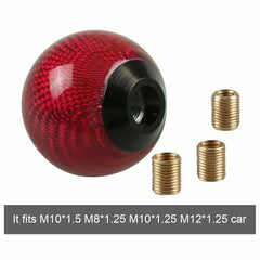 Car Gear Shift Knob Round Ball Shape Red Carbon Fiber Universal with Adapters
