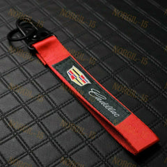 CADILLAC RED Racing Keychain Metal Backpack key Ring Hook Strap Lanyard Nylon