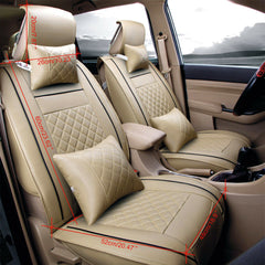 7pc Car SUV Seat Cover PU Leather 5-Seats Front+Rear Cushion Full Set Beige EGD