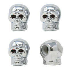 Universal Valve Stem Caps Skull Chrome Air Caps Tire Caps Car Truck SUV 4PCS