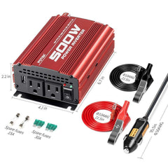POTEK 500W Car Power Inverter DC 12V to AC 110V with 2 AC outlets 2A USB Port