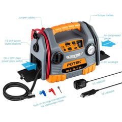 POTEK Jump Starter Source:150 PSI Tire Inflator/Air compressor,900 Peak Amp