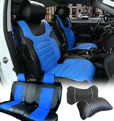 PU Leather Car Seats Cushion Front & Rear Seat to GMC 80255 Bk/Blue
