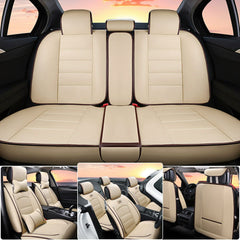 Deluxe PU leather Car Seat Cover Full Front+Rear 6D Cushion 5-Seats W/Pillows US