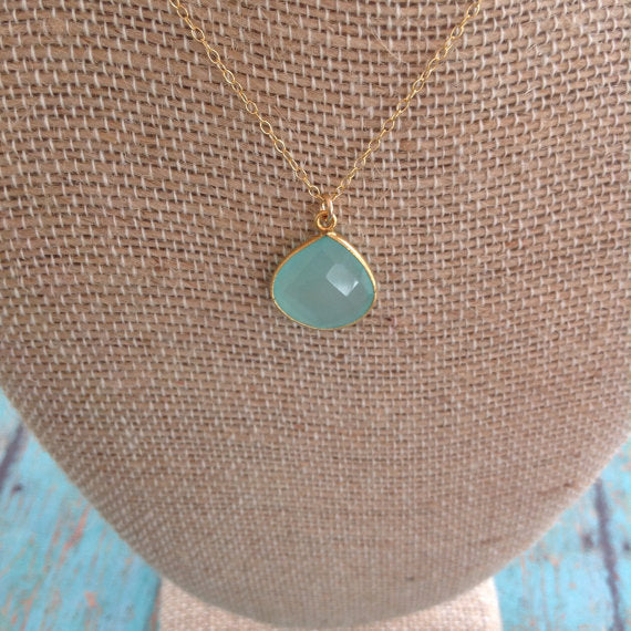 Rose Water Designs - Aqua chalcedony faceted necklace