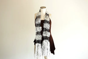 Crickets' Creations - Black and white scarf - handmade