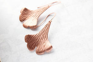 A Pocket of Posies - Copper Ginkgo Leaf Earrings