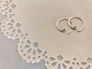 Rose Water Designs - Silver curled hoop earrings