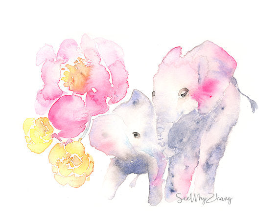 SeeWhyZhang Design - Elephant Mother and Baby Watercolor Art Print