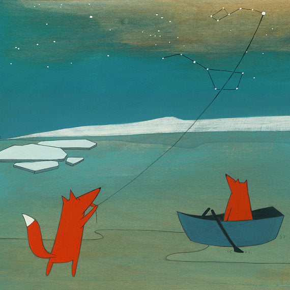 Kristiana Parn - Fox flying a kite - Signed art print