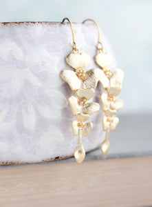 A Pocket of Posies - Gold Orchid Earrings