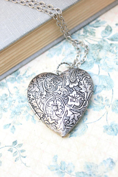 A Pocket of Posies - Large Heart Silver Locket Necklace Vintage Style