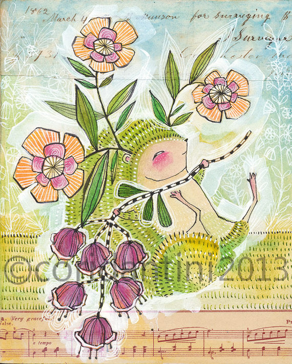 Cori Dantini - Hedgehog with flowers - Limited edition print