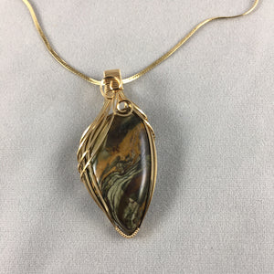 Paulette's by Design - Kaleidoscope Jasper wrapped with gold-filled wire
