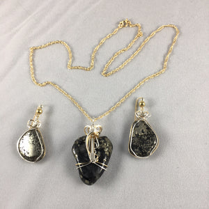 Paulette's by Design - Necklace set - Pyrite wire-wrapped pendant and earrings