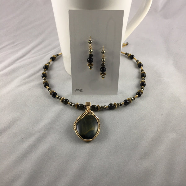 Paulette's by Design - Necklace set - Blue Tiger Eye pendant with Blue Tiger Eye rounds
