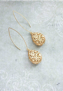 A Pocket of Posies - Long teardrop gold filigree earrings