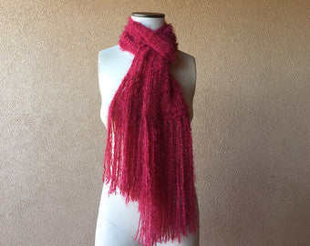 Crickets' Creations - Long red scarf - handmade