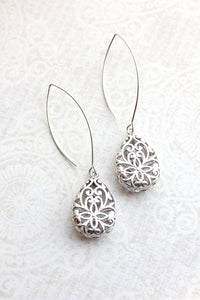 A Pocket of Posies - Long teardrop silver filigree earrings