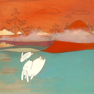 Kristiana Parn - Rabbits and Mt. Fuji - Signed art print