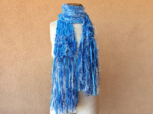 Crickets' Creations - Blue ribbon scarf - handmade